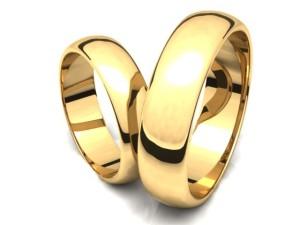 Obrączki klasyczne, wypukłe, żółte złoto.