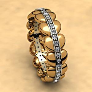 obrączki żółte i białe złoto z brylantami
