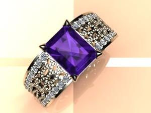 pierścionek z brylantami i ametystem
